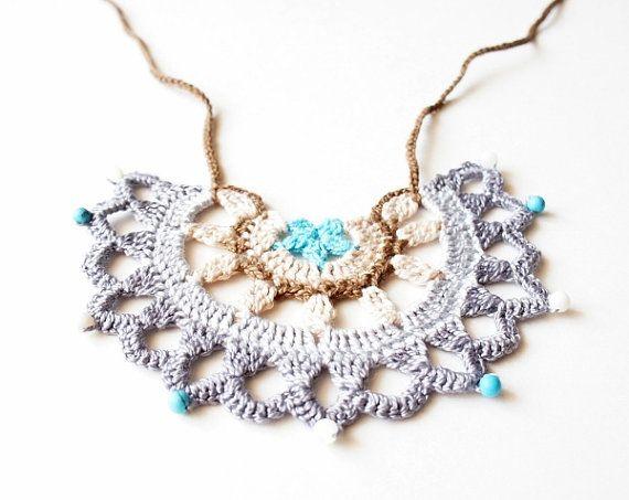 Crochet Pattern by JaKiGu - PDF Instructions - Tribal Necklace - Bib Necklace - Breastfeeding Necklace