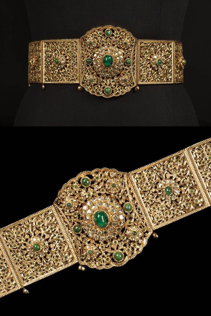 Morocco - Fez | Wedding belt; gold and emeralds.  | c. 2nd half of the 20th century | Est. 2'000 - 3'000€ ~ (Oct '15)