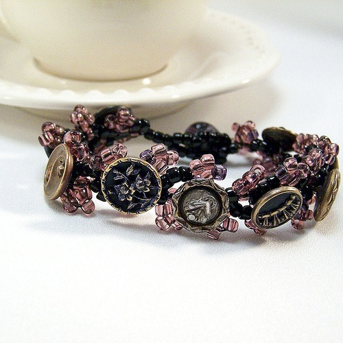 Antique Button Jewelry - Cuff Bracelet