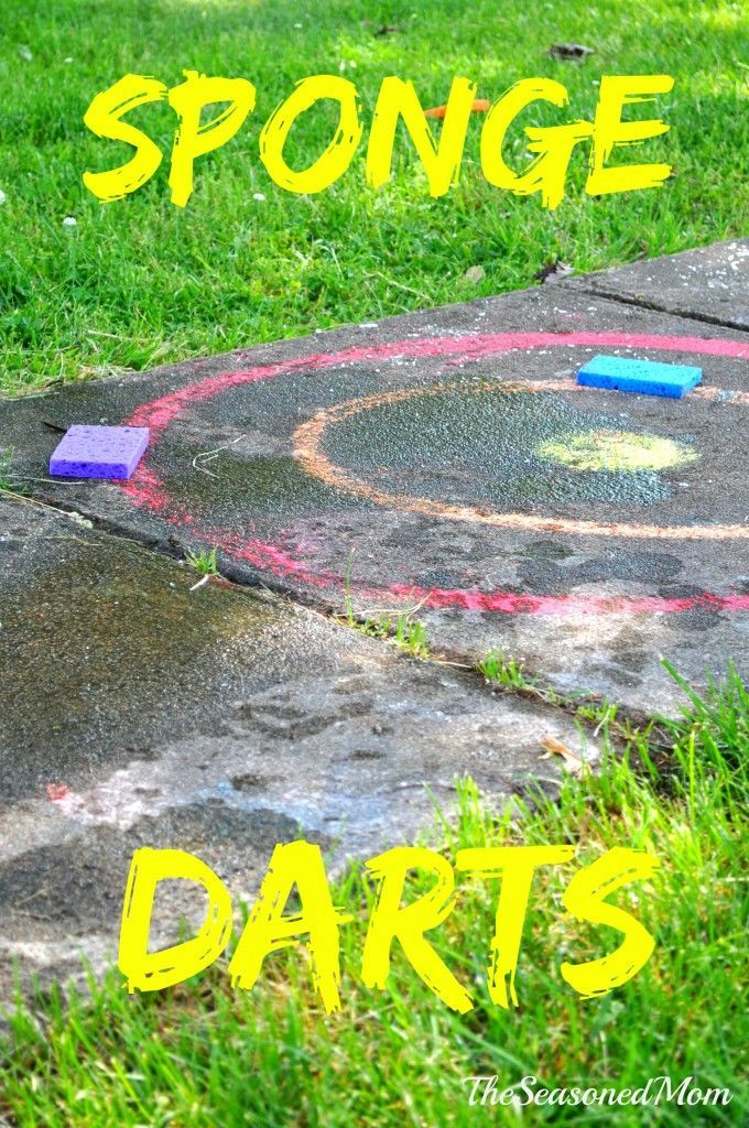 Sponge Darts -- Cheap and easy summer activity for the kids! Make it educational by adding letters, numbers, probability, you name it.