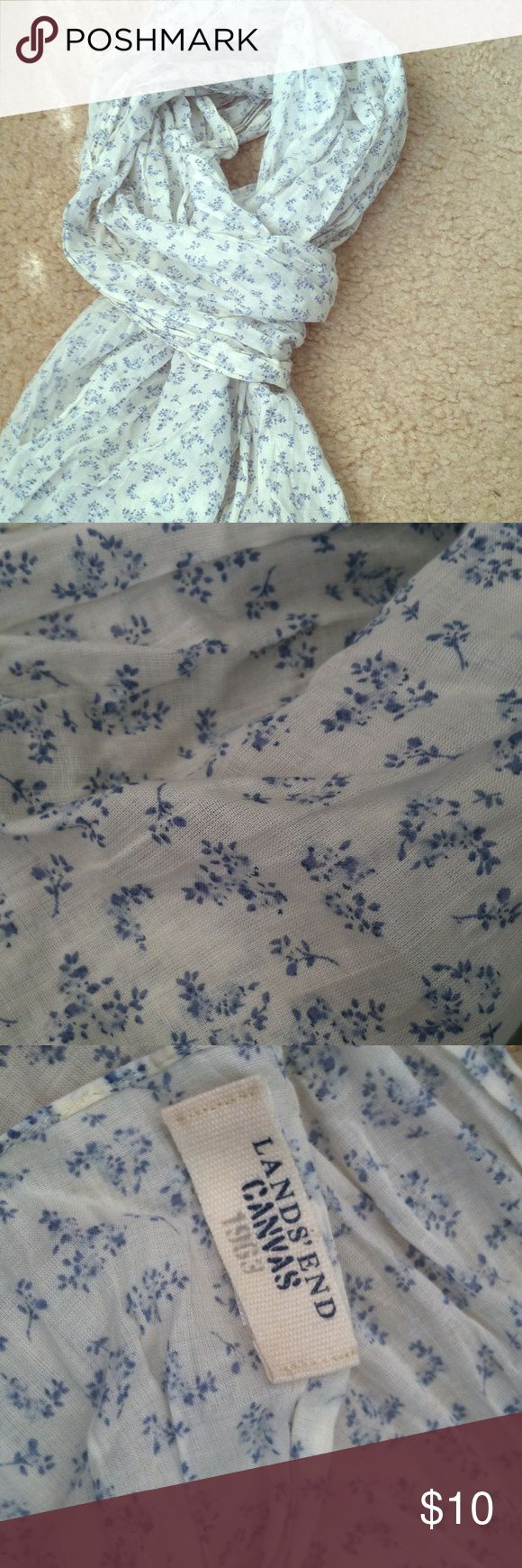 Lands End Canvas Floral Scarf Light weight crinkle fabric. Cream with blue floral print. Worn once. Moving sale, accepting offers! Lands' End Accessories Scarves & Wraps