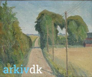 arkiv.dk | Høvedstensvej set mod Hvidovrevej. Dystre træer og tre elmaster. 49x42. Olie. 1944. Lauritz Christiansen.