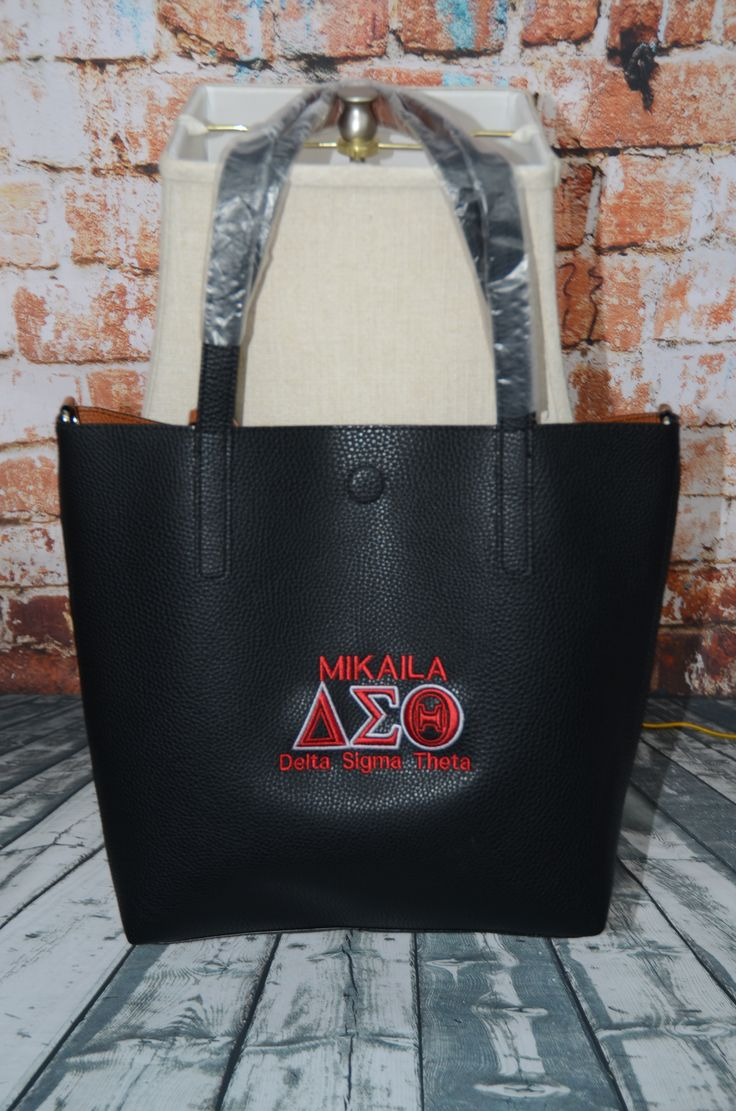 1883 best delta images on pinterest delta sigma theta elephant delta sigma theta handbag faux leather monogram purse delta embroidered monogram leather tote bag buycottarizona Choice Image