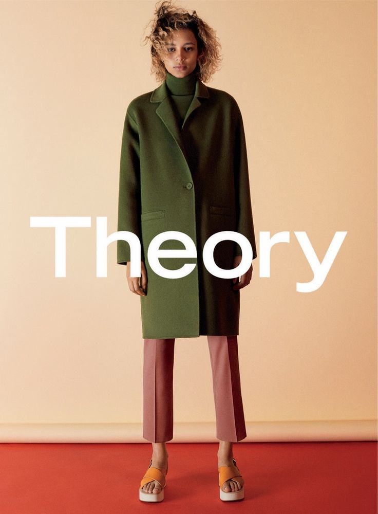 Binx Walton wears green jacket and cropped pants in Theory fall 2016 campaign