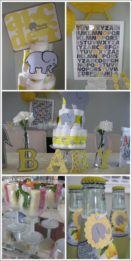 Elephant shower for boy or girl: Elephants Baby, Elephants Theme, Elephants Shower, Baby Shower Ideas, Yellow Baby Shower, Grey Yellow, Diapers Cakes, Alphabet Posters, Shower Theme