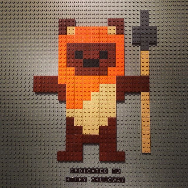 This 8bit Lego Ewok is dedicated to Riley Galloway.