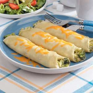 Broccoli Cheese Crepes Recipe -this recipe from Jane Shapton is perfect to prepare for a special brunch or light dinner for two. The Irvine, California cook tucks a cheesy broccoli mixture into tender homemade crepes with delicious results.
