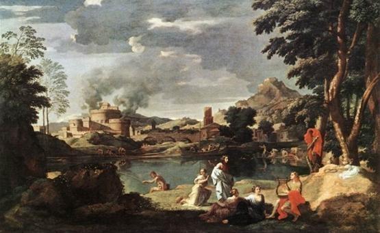 니콜라 푸생(Nicolas Poussin)의 오르페우스와 에우리디케(Orphee et Eurydice) / 17세기경 / 루브르 박물관 소장  바로크미술