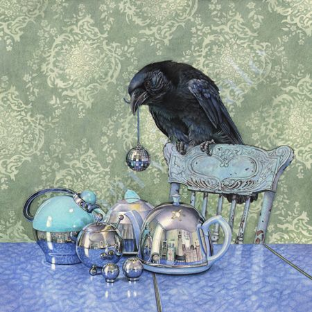 """Here's Crow, doing what he does best...Gathering Shiny Objects! Love the TeaPots, those must have been quite a Triumph to carry! """"Crow Collects"""" by Cori Lee Marvin"""
