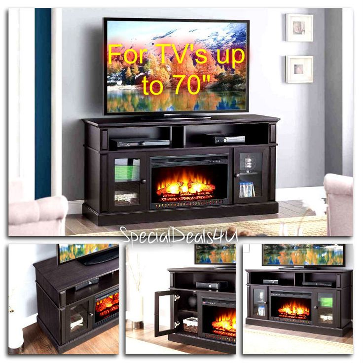 "TV Stand Media Entertainment Wood Console 70"" Electric Fireplace Heater Espresso #SD4U #ModernTransitionalContemporary"