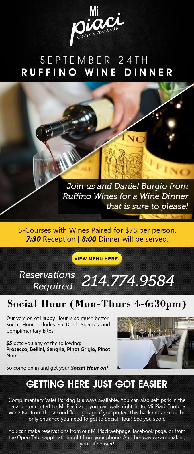 Ruffino Wine Dinner September 24th, 2013