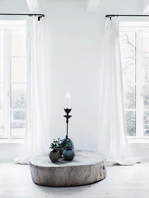 white / minimalist / long white curtains / wood / plants