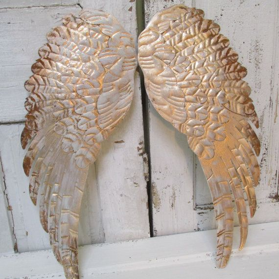 Large angel wings wall decor rusty gold distressed shabby for Angel wings wall decoration