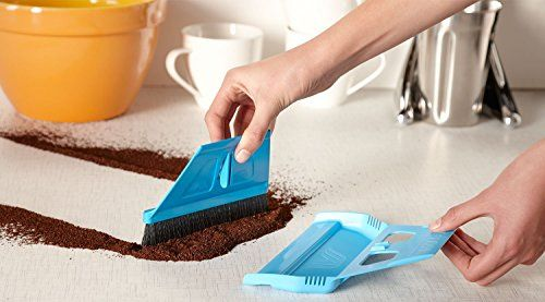 miniWISP, Small Hand Broom and Dustpan Set with Electrostatic Bristle Seal Technology (Blue)