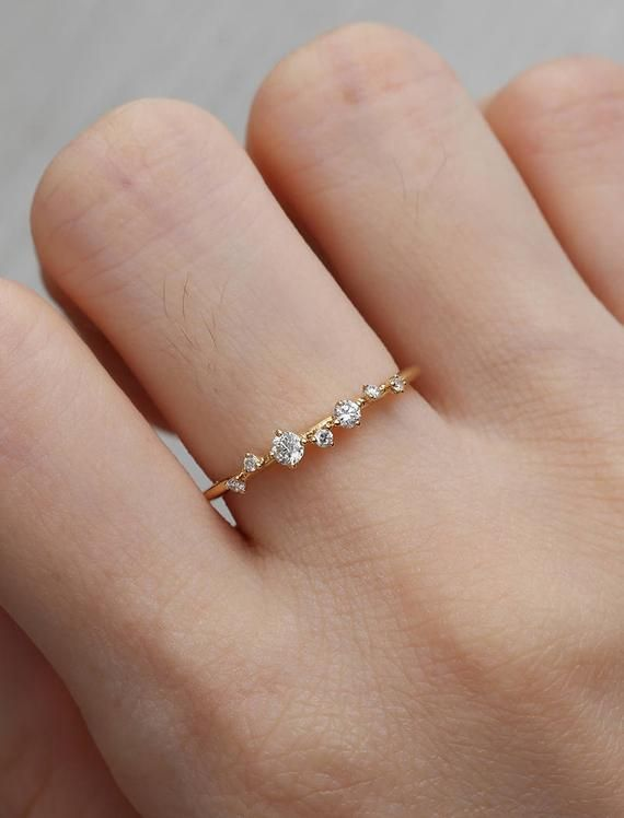 Diamond Cluster Ring Twig Engagement Ring Floral Unique Wedding Band Snowflake Yellow Gold Dainty Flower Mini Tiny Anniversary Promise gift – Wishlist