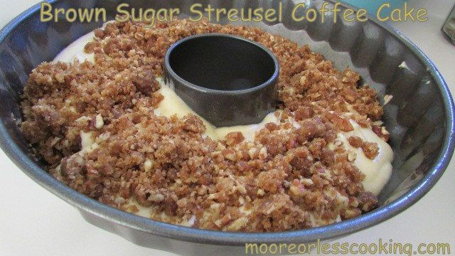 Brown sugar streusel coffee cake in a bundt pan - used to make one like this all the time.