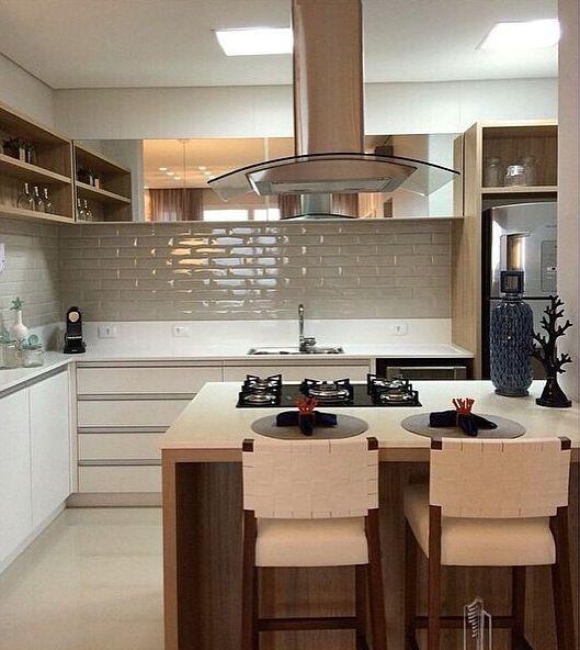 Cozinha Clean: 60 Modelos e Projetos Incríveis Revestimento vintage na parede