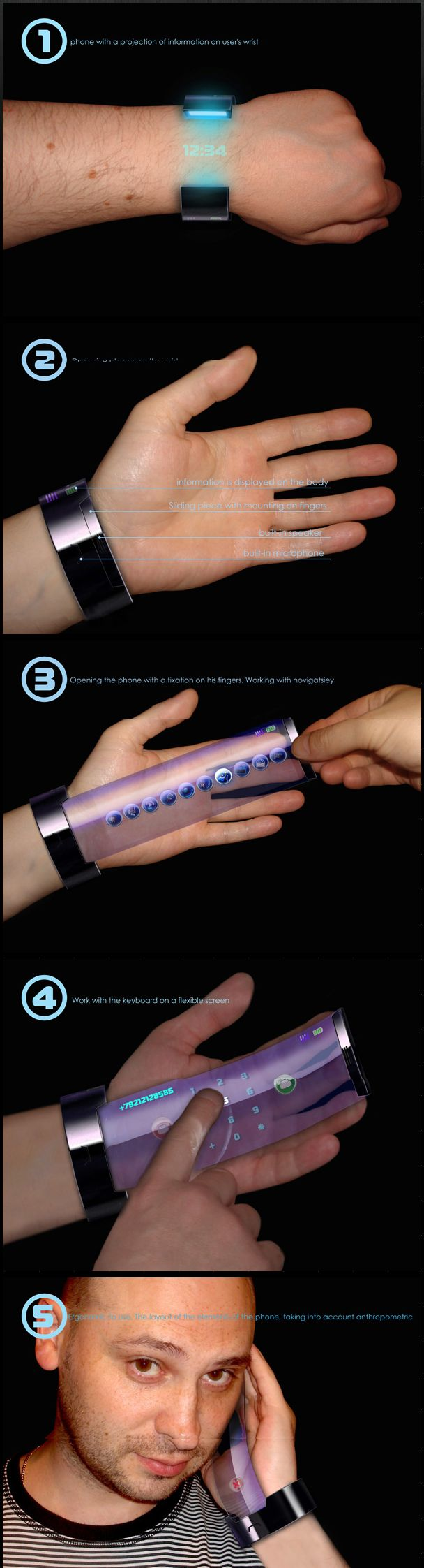 """Although still in the conceptual phase, the """"Rollerphone"""" designed by Alexey Chugunnikov is more than a sexy futuristic bracelet watch, it works as a phone"""