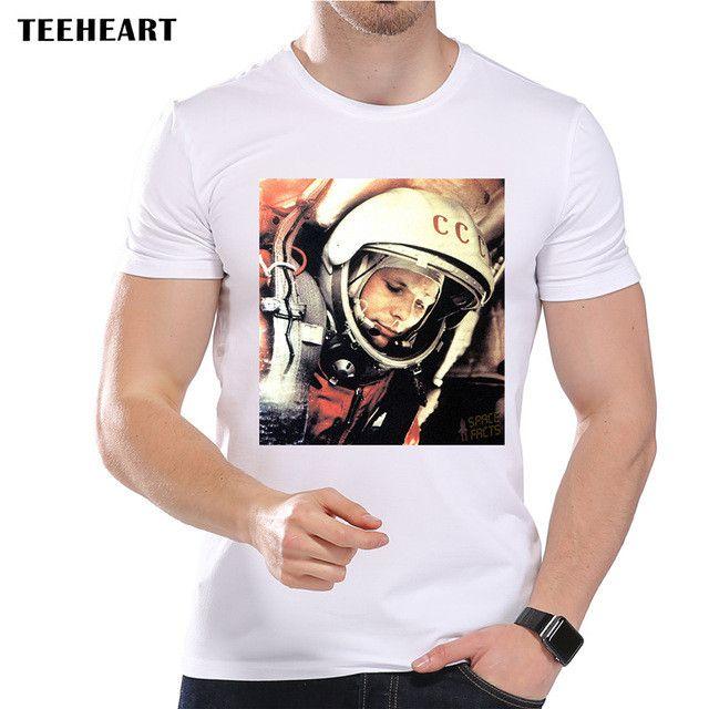 Retro Russian Astronaut Gagarin Printed T-shirt for Men Short sleeve O-neck Casual Modal Tops