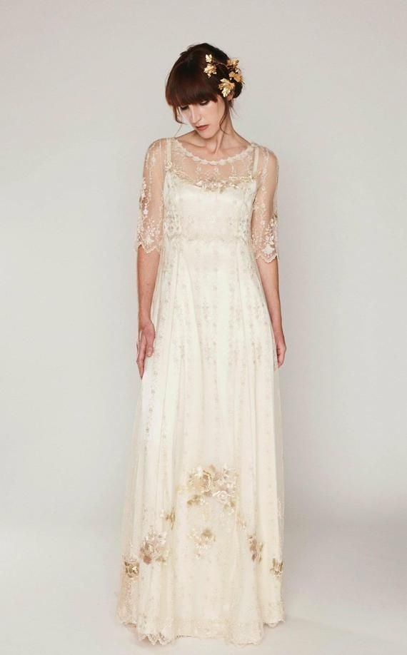 Boho-Style wedding dress of embroidered netting over a double silk satin slip dress, sweep train, mid-length sleeve, vintage/Hippie Inspired