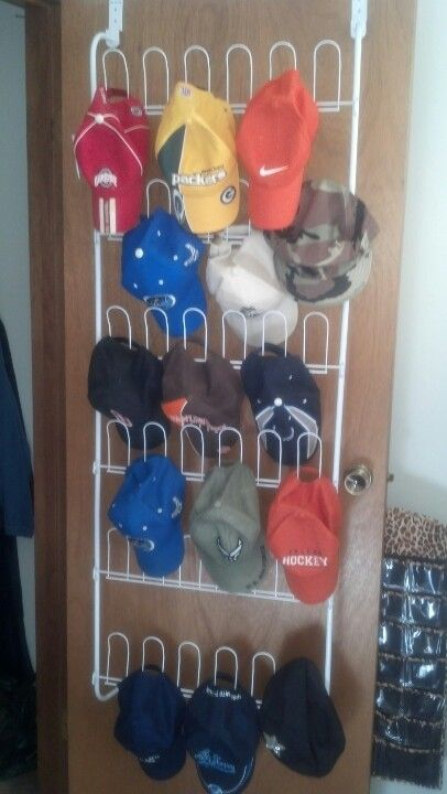 Use an over the door shoe rack to store ball caps.