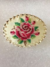 Vintage Needlepoint Floral Cameo Pin   Germany
