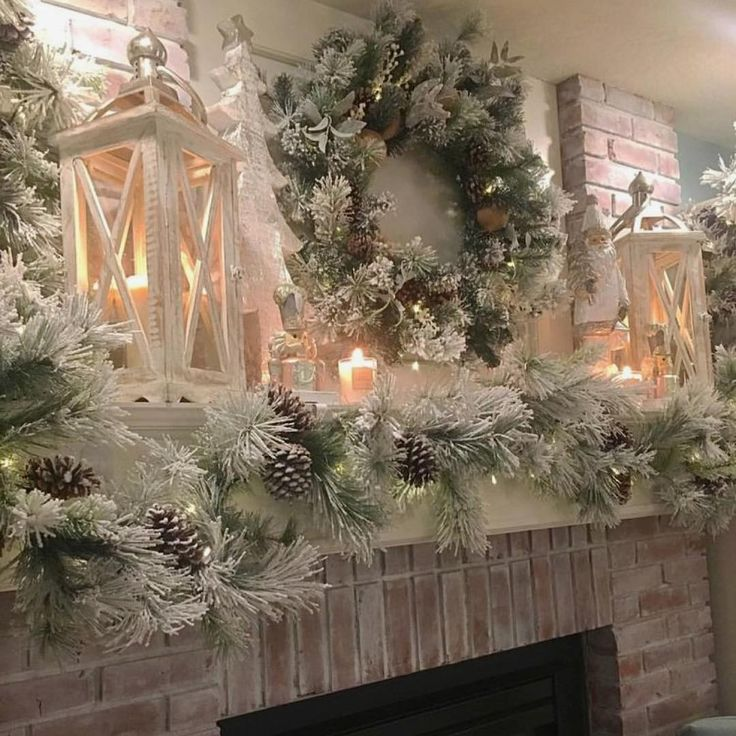 Tree Of Life Fireplace Surround: Christmas Mantel Decorating Idea With Natural Decor