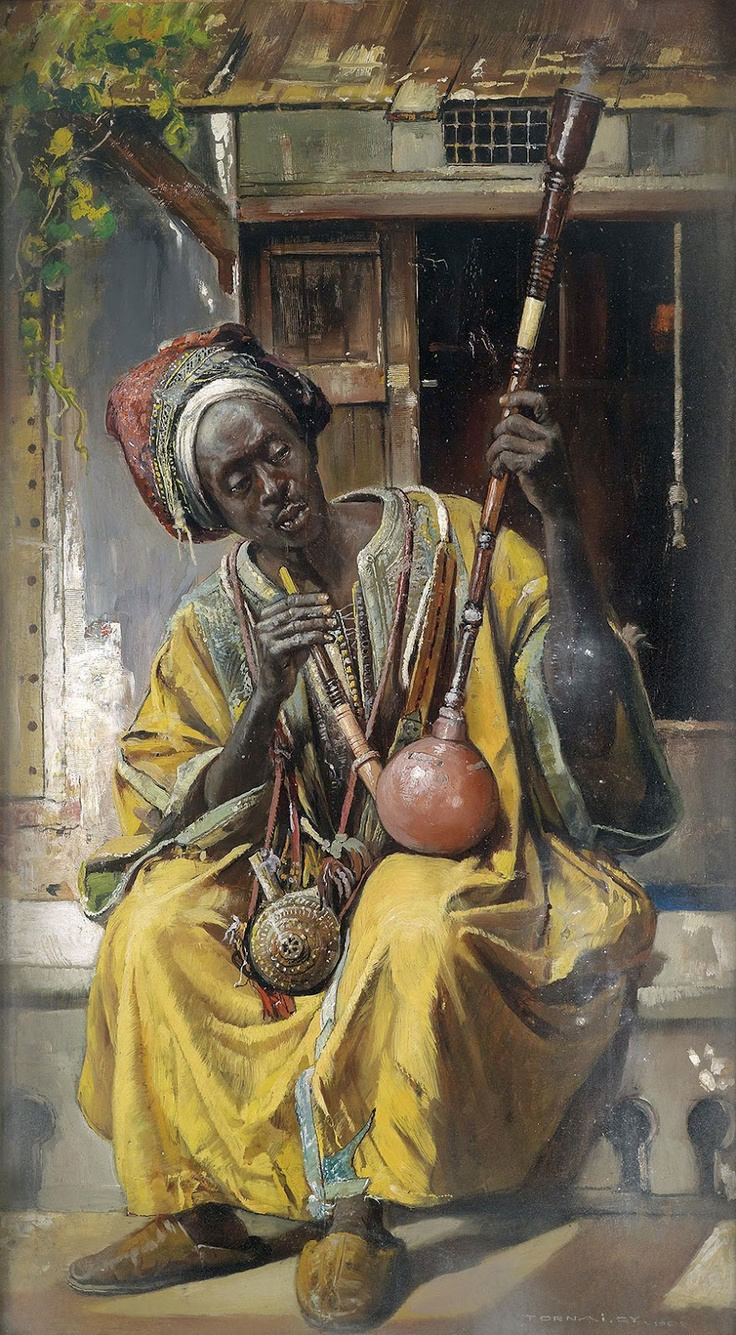 Oriental Paintings by Hungarian Artist Gyula Tornai (1861 - 1928) The shisha smoker, 1903