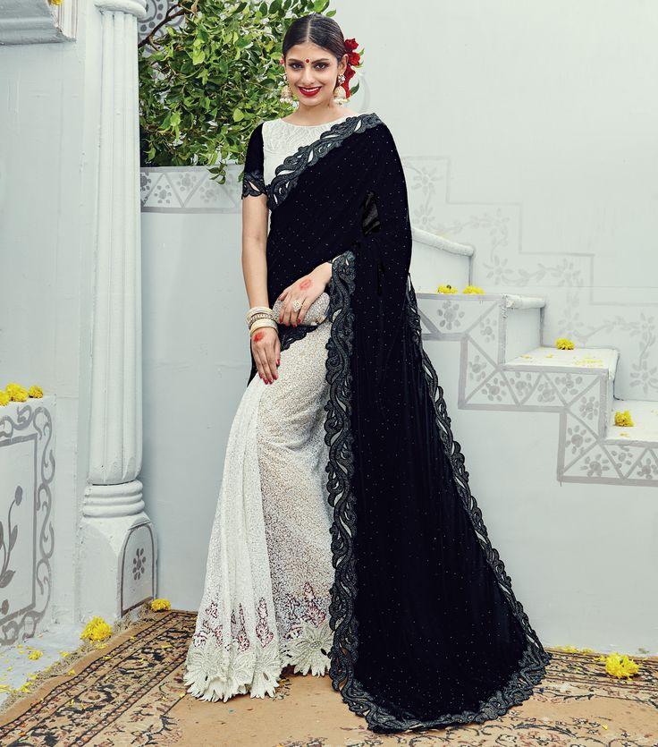 #WeddingSaree Black-Alice Blue Velvet Pallu Designer Traditional Saree with Heavy Diamond Work. Buy Now :- https://goo.gl/M3zz9R