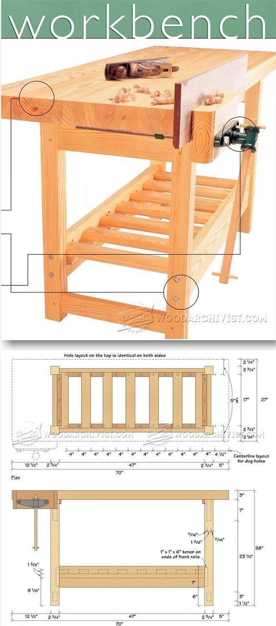 Wood Workbench Plan - Workshop Solutions Plans, Tips and Tricks | WoodArchivist.com | Woodworking Plans | Pinterest