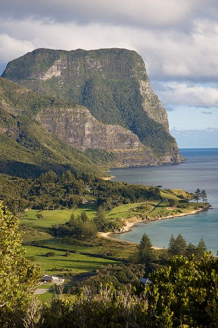 View of Mt Gower and Golf Course from Transit Hill on Lord Howe Island, NSW, Australia