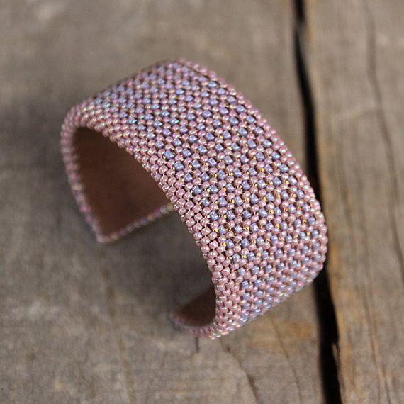 Adjustable cuff bracelet Artisan beadwork jewelry by Naryajewelry, $50.00