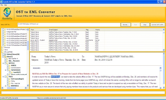 If you want to recover OST emails into EML extension and finding best OST to EML conversion program then just try out our Enstella OST to EML or OST to EML converter software. Excellent performance based OST to EML recovery tool fastly repair Outlook OST file and recover inaccessible OST emails into EML format.  http://www.enstella.com/ost-to-eml-converter.html