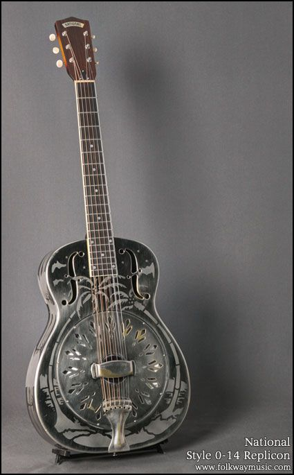 National Style 0-14 Replicon Brushed Steel Guitars : Resonator....probably my favorite guitar type ever!