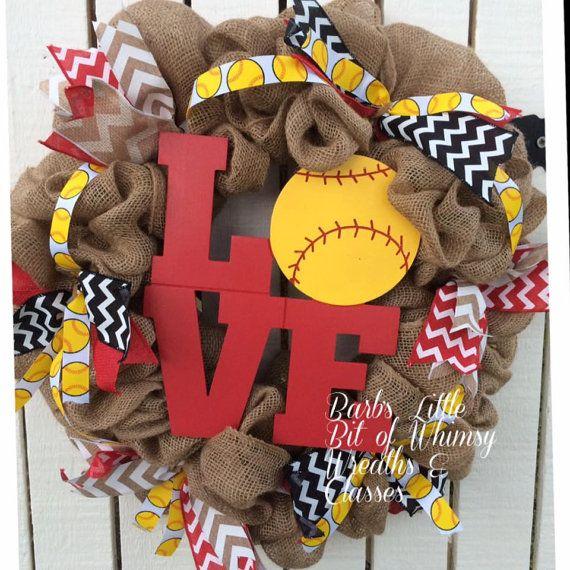 Baseball Wreath Sports Wreath Softball Mom by lilbitofwhimsywreath