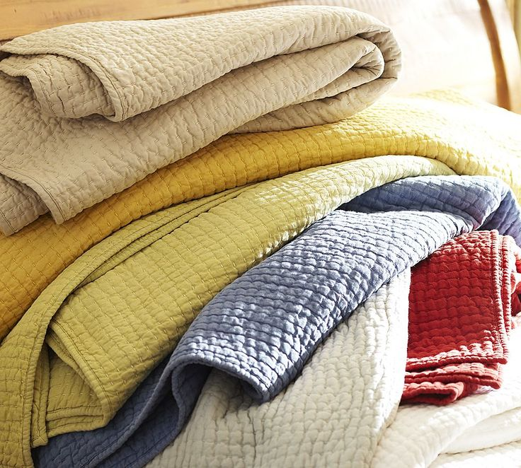 pottery barn quilts | Details about New~Pottery Barn PickStitch Sandalwood Twin Quilt