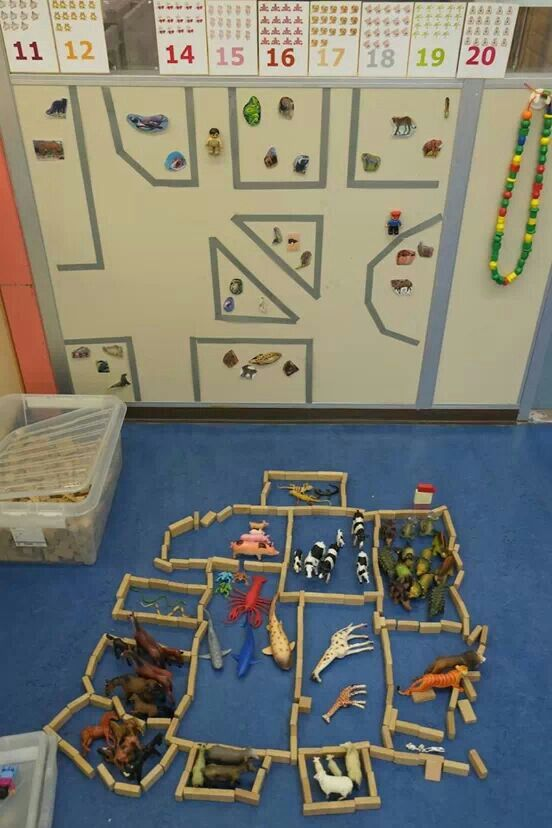 block area with magnet board great for visual acuity  and one to one correspondence