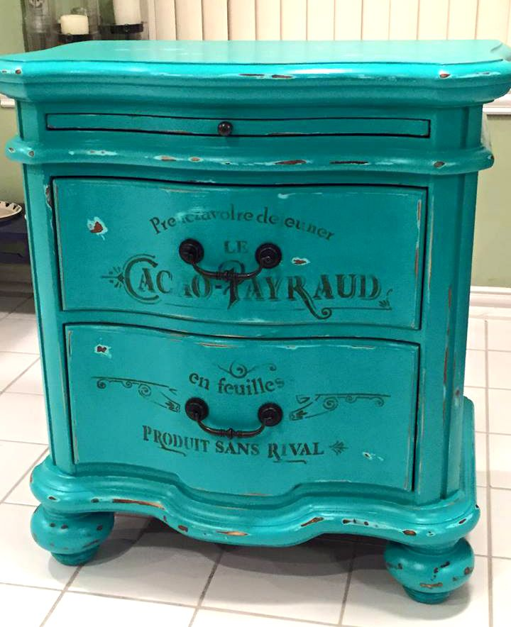 French Patina Green Nightstand