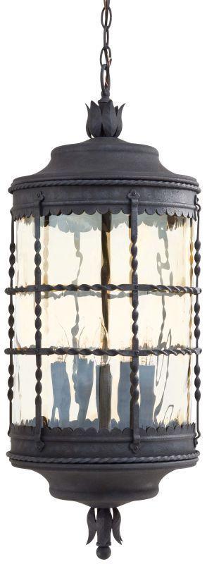 The Great Outdoors GO 8884 5 Light Lantern Pendant from the Mallorca Collection Mediterranean Iron Outdoor Lighting Pendants