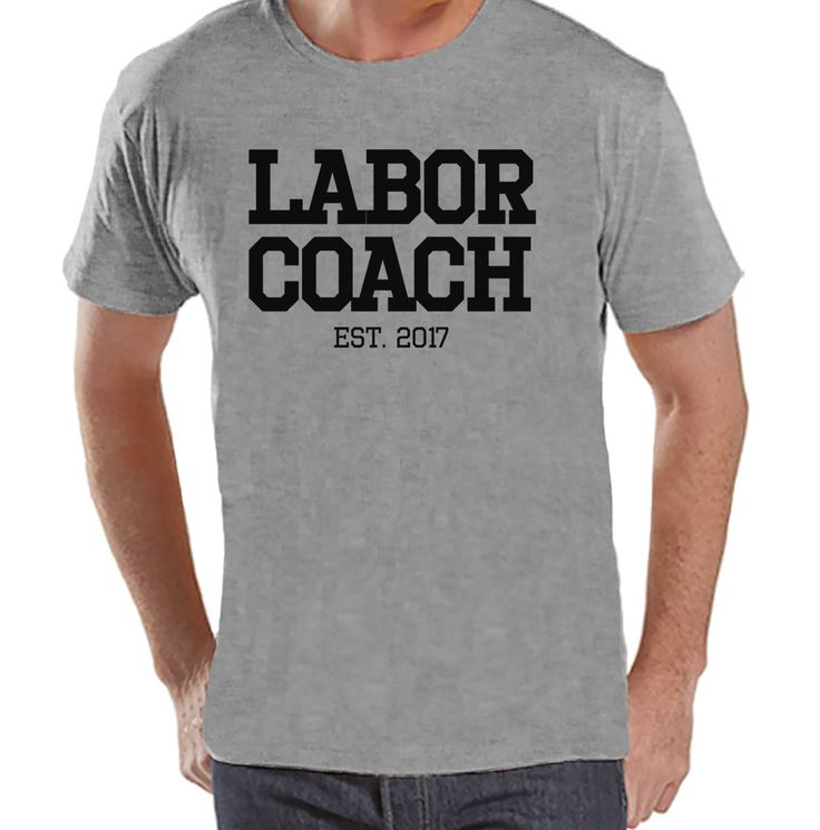 Pregnancy Announcement - Labor Coach Shirt - Mens Grey T Shirt - Pregnancy Reveal Idea - Surprise New Grandparents - Pregnancy Gift Idea