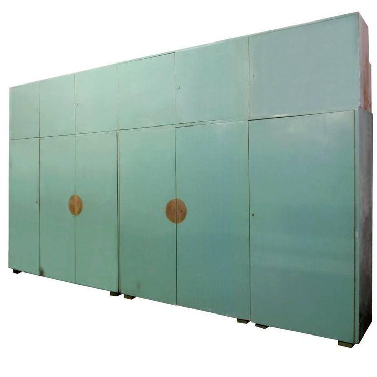 Bauhaus Built-In Wardrobe with Original Celadon Green Lacquer Finish, circa 1930