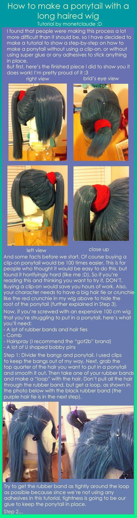 Here's a tutorial on how to make a ponytail with a long haired wig. It worked for mine (shown in the tutorial), so I've typed up instructions on how to do it. If you have any questions, don't hesit...