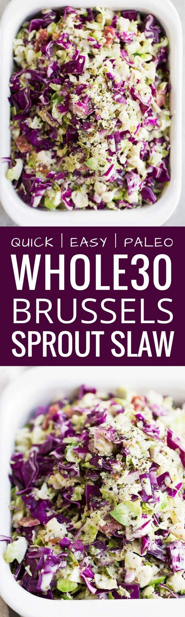 Paleo Brussels Sprout Slaw recipe. The BEST brusse�