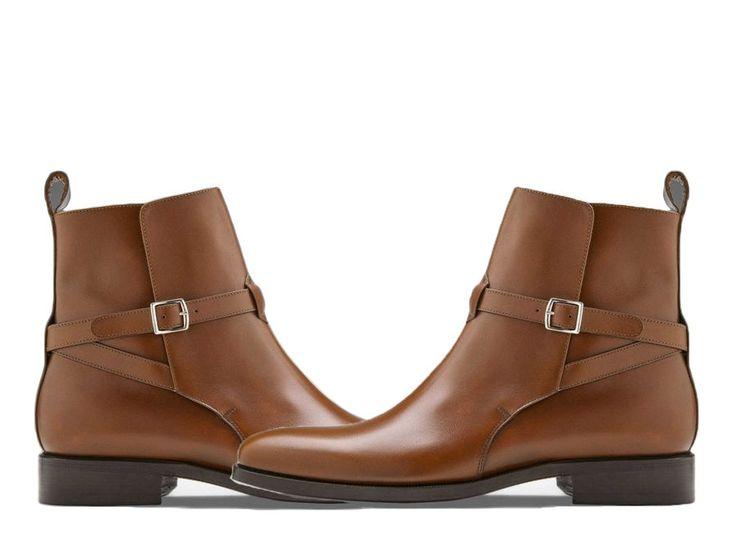 Handmade men's Jodhpurs Brown leather ankle Boots, Men Leather Boots Men #CUSTOMAMDE #AnkleBoots