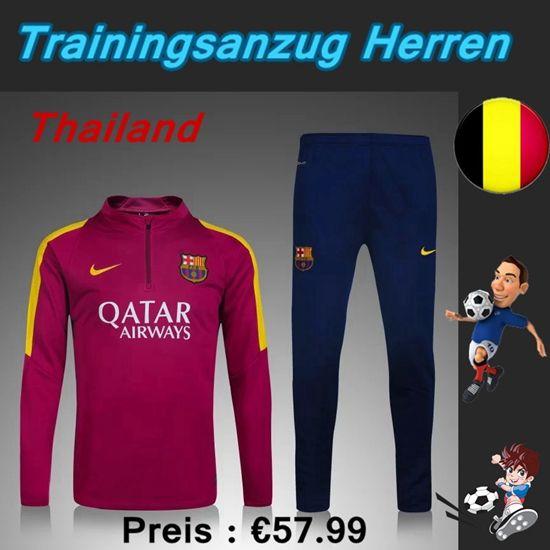 Die Neuen Trainingsanzüge Fussball Herren Kits FC Barcelona Rot Violace Seson 2015 2016 Thailand Großhandel