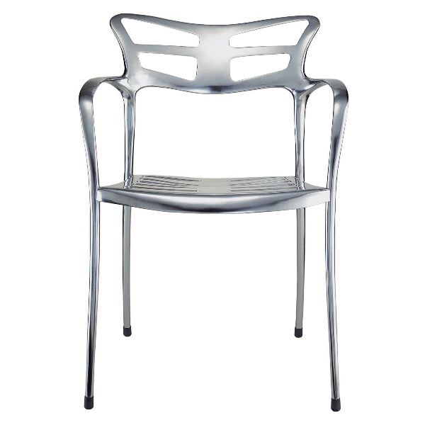 """Design:Paco Escoda  Icon is a true Thompson Contract classic.With a unique shape, stacking capability,and a frame in either matte or gloss aluminum, the design is perfect for setting the tone of any indoor or outdoor environment.  <em>Sidechair</em> Dimensions: 22""""W, 21.5""""D, 31""""H Seat Height: 18"""" Arm Height: 25.5"""" Weight: 14 lbs. Frame:Gloss/matte anodized aluminum Stacks: 4  Base LIST price: $1,053"""
