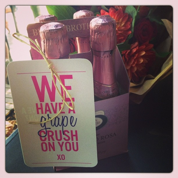 Happy friends Valentine's Day lunch with GastronoMel and Brown Brothers Winery grape crush Moscato Rosa party pack.  Oh hai, @brownbrothers Moscato Rosa party pack. Happy Valentine's Day