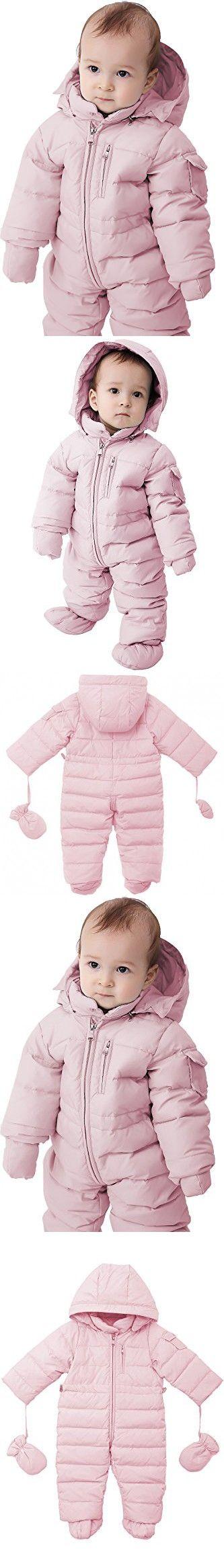 Oceankids Baby Boys Girls Pink Pram One-Piece Snowsuit Attached Hood 9M 6-9 Months