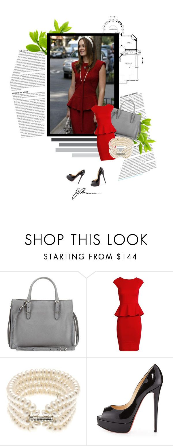 """""""Blair Waldorf: Red Peplum Dress"""" by alex-begg ❤ liked on Polyvore featuring Balenciaga, Alice + Olivia, Lido Pearls and Christian Louboutin"""