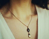 Black Onyx Necklace / Oxidized Sterling Silver Chain /  Pyrite / Urban / Two StonesSterling Silver Chains, Oxidized Sterling Silver